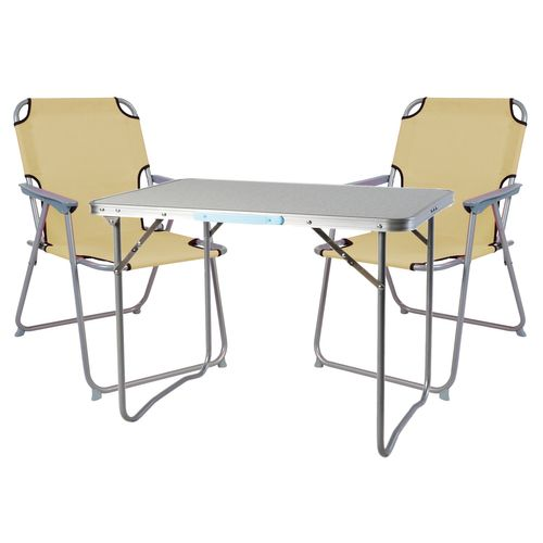 3-teiliges Campingmöbel Set Alu L70xB50xH59cm beige – Bild 1
