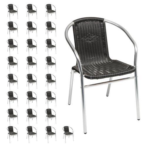 26 Stück Stabile Aluminuim / Polyrattan Bistrostühle stapelbar  – Bild 1