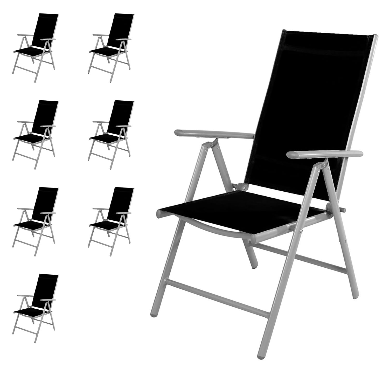 8 st ck garten klappstuhl aluminium textilen silbergrau schwarz garten gartenst hle. Black Bedroom Furniture Sets. Home Design Ideas