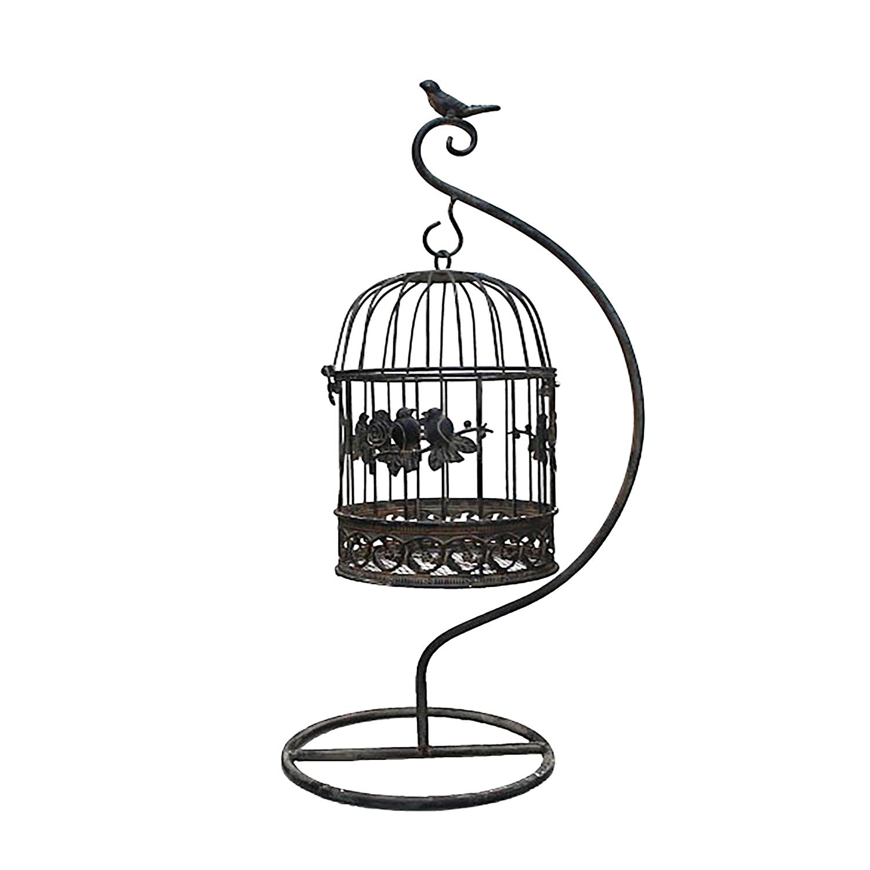 deko k fig vogelk fig blumenk fig mit st nder h ngend braun rostig h55xb28xt19cm ebay. Black Bedroom Furniture Sets. Home Design Ideas
