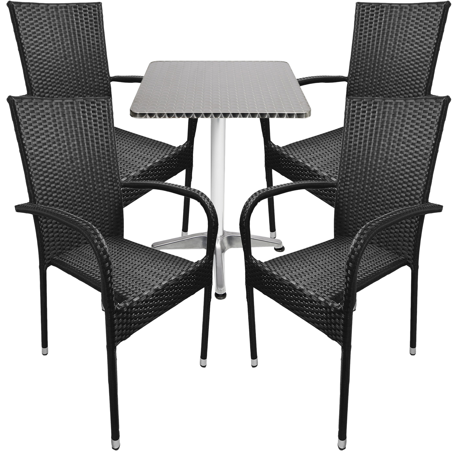 bistro sitzgarnitur bistrogarnitur 5 teilig rattan schwarz garten gartengarnituren. Black Bedroom Furniture Sets. Home Design Ideas