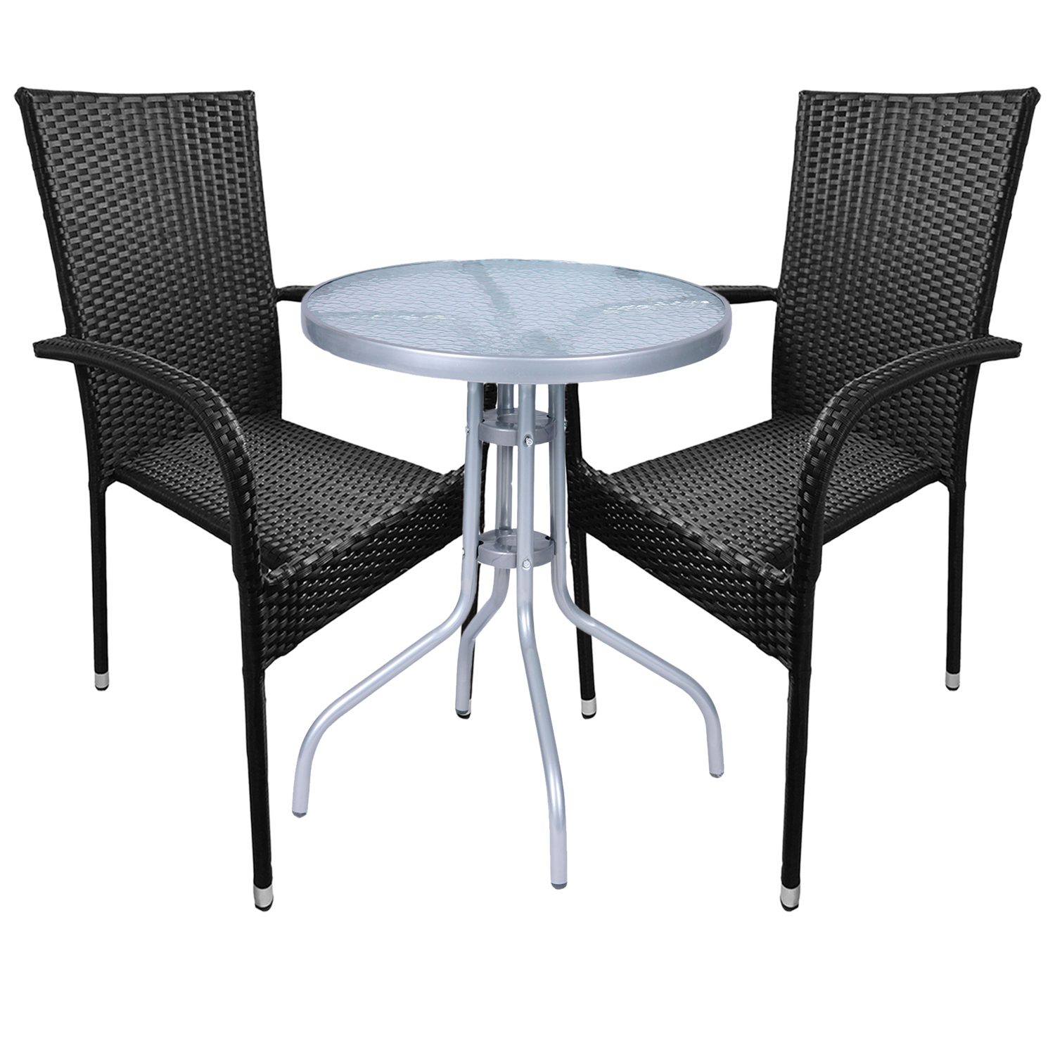 bistro sitzgarnitur bistrogarnitur 3 teilig rattan schwarz garten gartengarnituren. Black Bedroom Furniture Sets. Home Design Ideas
