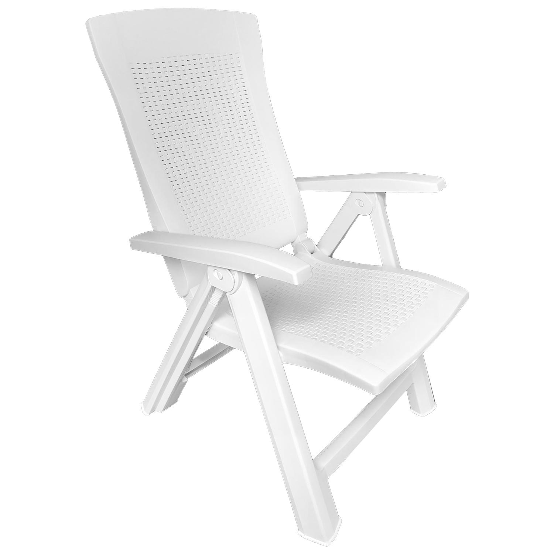 klappstuhl kunststoff rattanoptik wei 5 positionen garten gartenst hle. Black Bedroom Furniture Sets. Home Design Ideas