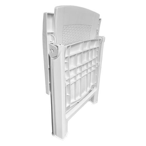Klappstuhl Kunststoff Rattanoptik Weiß 5-Positionen – Bild 2
