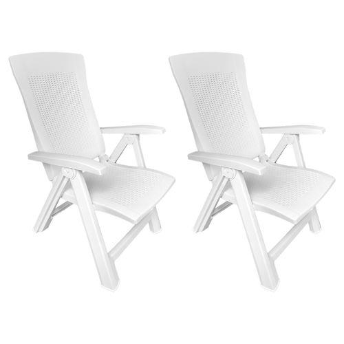2 Stück Klappstuhl Kunststoff Rattanoptik Weiß 5-Positionen – Bild 1