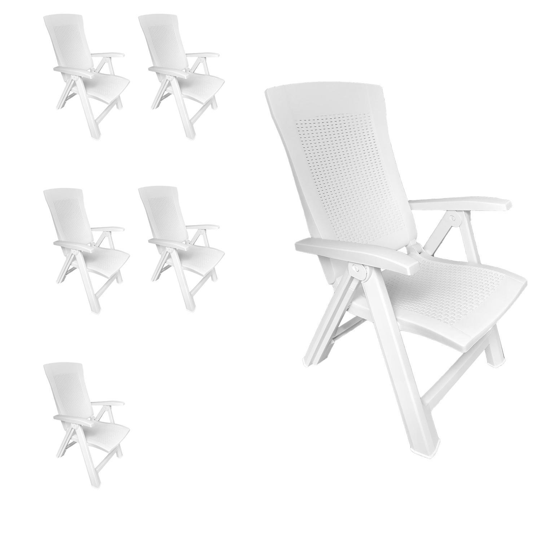 6 st ck klappstuhl kunststoff rattanoptik wei 5 positionen garten gartenst hle. Black Bedroom Furniture Sets. Home Design Ideas