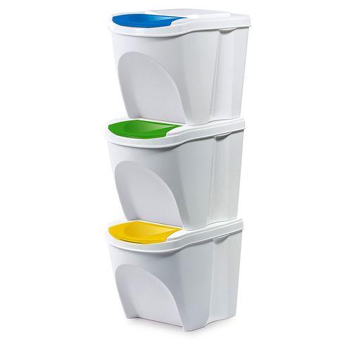 Mülltrennsystem Mülleimer 3x20 Liter weiß