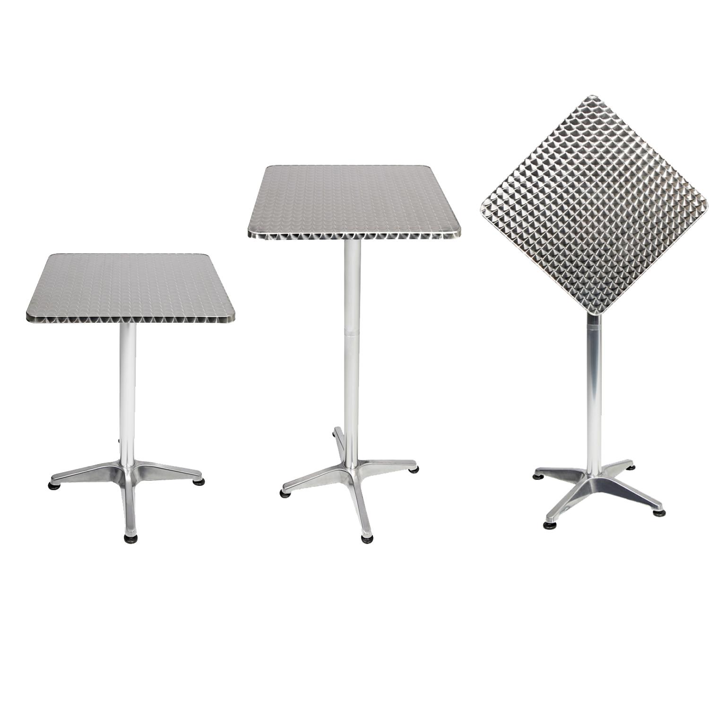 b ware bistrostehtisch aluminium 60x60cm h70 110cm h henverstellbar klappbar garten gartentische. Black Bedroom Furniture Sets. Home Design Ideas