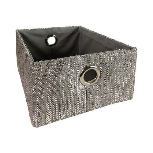 3tlg. Deko-Stoffkorb-Set Glitter grau – Bild 2