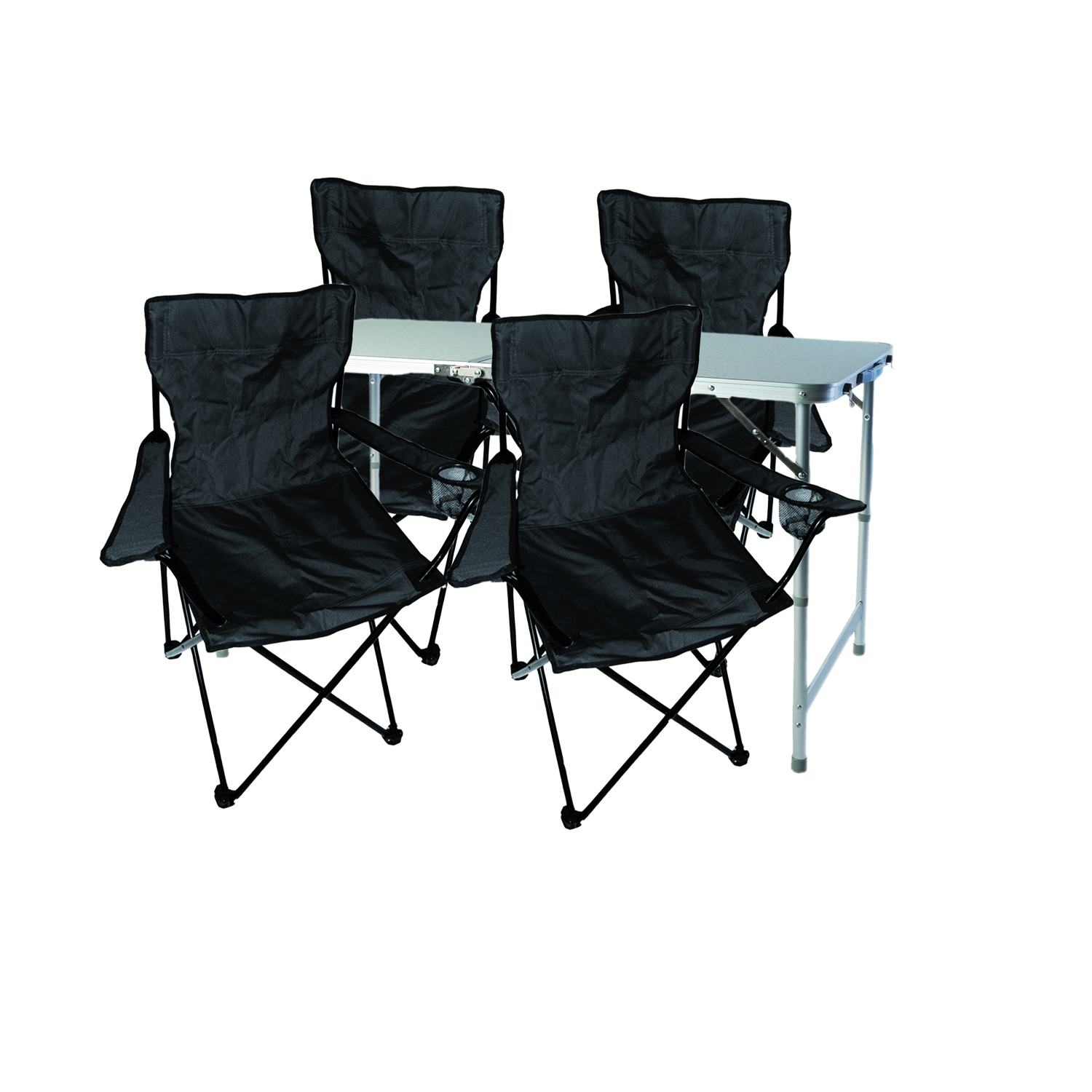 5 tlg schwarz campingm bel set tisch mit tragegriff und. Black Bedroom Furniture Sets. Home Design Ideas