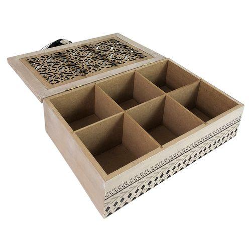 Teebox Holz Orient Shabby Look mit 6 Fächern  – Bild 4