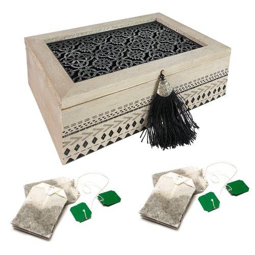 Teebox Holz Orient Shabby Look mit 6 Fächern  – Bild 1