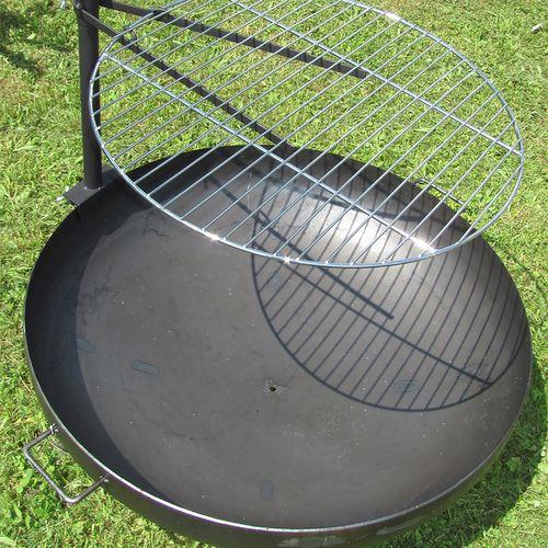 verchromter Grillrost Ø60cm mit Halterung für Feuerschalen bis 80cm – Bild 2