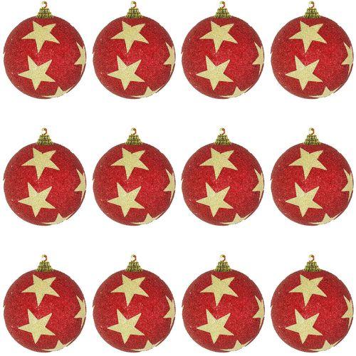 12-tlg. Christbaumkugeln  Weihnachtsbaumkugeln Stern beflockt Glitzer Rot Ø 8cm – Bild 1