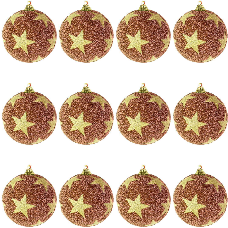 Christbaumkugeln Kupfer.12 Tlg Christbaumkugeln Weihnachtsbaumkugeln Stern Beflockt Glitzer Kufer Gold O 8cm