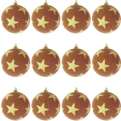 12-tlg. Christbaumkugeln  Weihnachtsbaumkugeln Stern beflockt Glitzer Kufer/Gold Ø 8cm – Bild 1