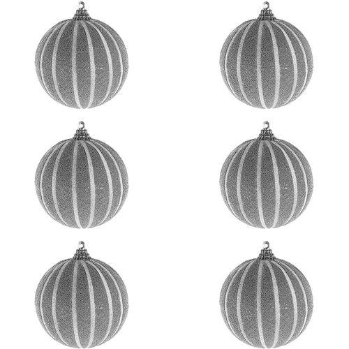 6-tlg. Christbaumkugeln  Weihnachtsbaumkugeln Streifen beflockt Glitzer Silber Ø 8cm – Bild 1