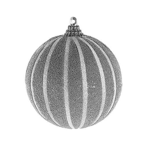 6-tlg. Christbaumkugeln  Weihnachtsbaumkugeln Streifen beflockt Glitzer Silber Ø 8cm – Bild 2