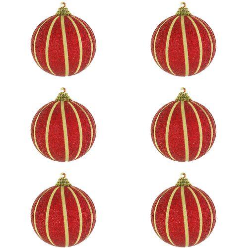 6-tlg. Christbaumkugeln  Weihnachtsbaumkugeln Streifen beflockt Glitzer Rot Ø 10cm – Bild 1