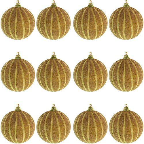 12-tlg. Christbaumkugeln  Weihnachtsbaumkugeln Streifen beflockt Glitzer Gold Ø 8cm – Bild 1