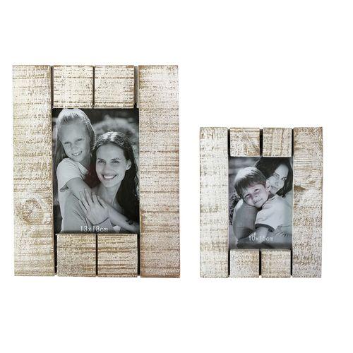 2 Stück Holzbilderrahmen / Fotorahmen Shabby Look Weiß 10x15 + 13x18 – Bild 1