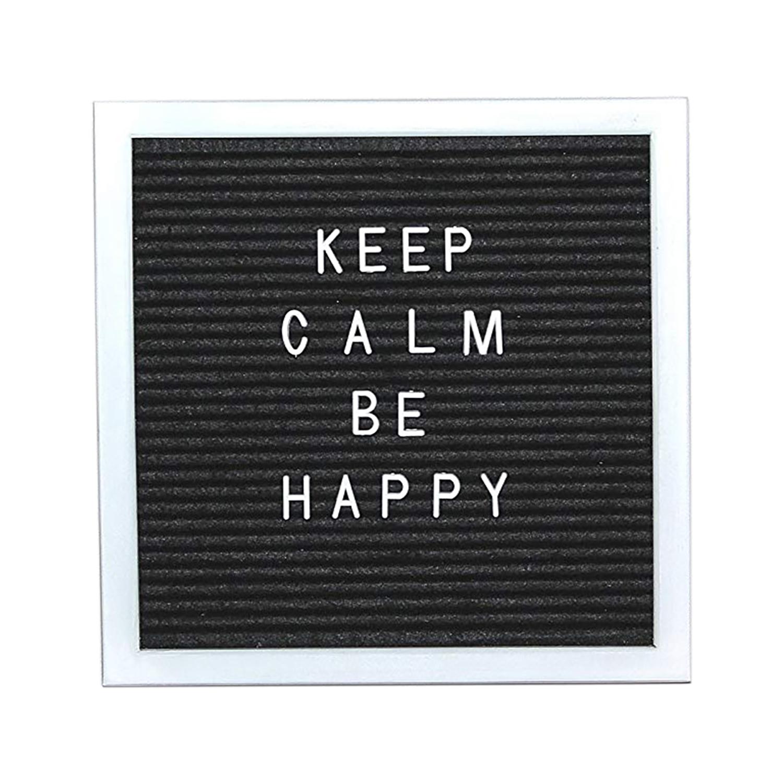 Buchstabentafel f/ür Wand- // Tischdekor. Schwarz /& Wei/ß Letter Board 30x30CM Kunststoff-Letterboard-Schild mit Metallst/änder//vorgeschnittenen schwarzen Buchstabenta//Fotoclips