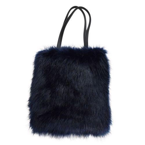 Shopper-Bag Tasche Handtasche Henkeltasche Kunstfell Dunkelblau H38cm xB35cm