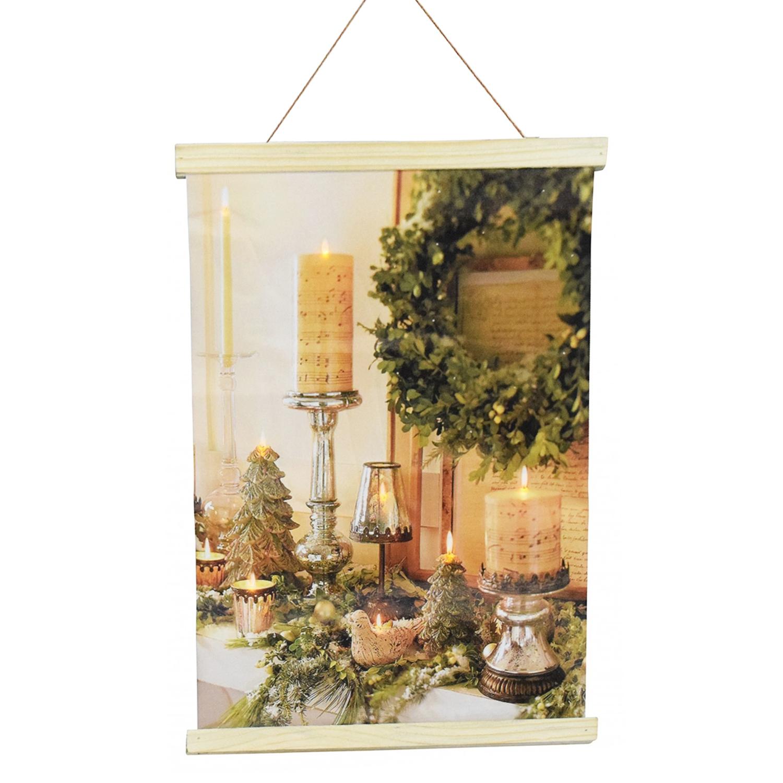 Weihnachtsbeleuchtung Kranz.22 Led Weihnachtsbeleuchtung Leinwand Weihnachtsmotiv Bedruckt B35xh45cm