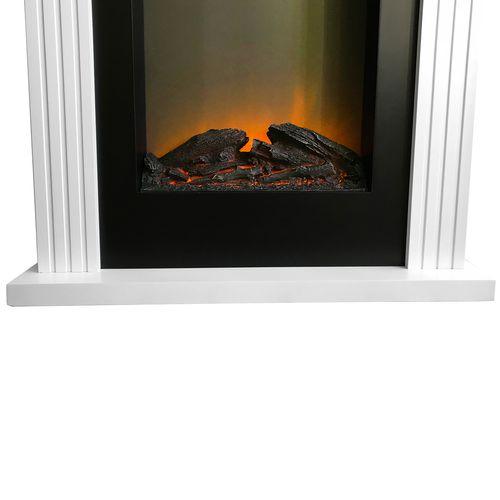 LED Elektrokamin + Umrandung 2000W Weiß + Gratis Kaminholzkorb – Bild 5