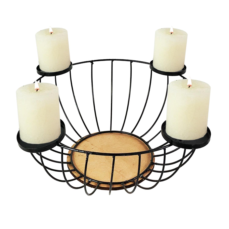 adventskranz metall weihnachtsdeko kerzenst nder 44xh16cm. Black Bedroom Furniture Sets. Home Design Ideas