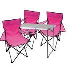 4-teiliges Campingmöbel Set pink Tisch+Campingstühle mit Tasche 001