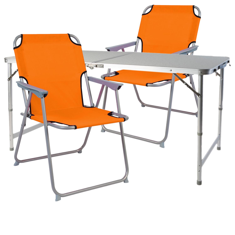 XL 3-teiliges Campingmöbel Set Alu mit Tragegriff Camping 80x60x68cm Orange