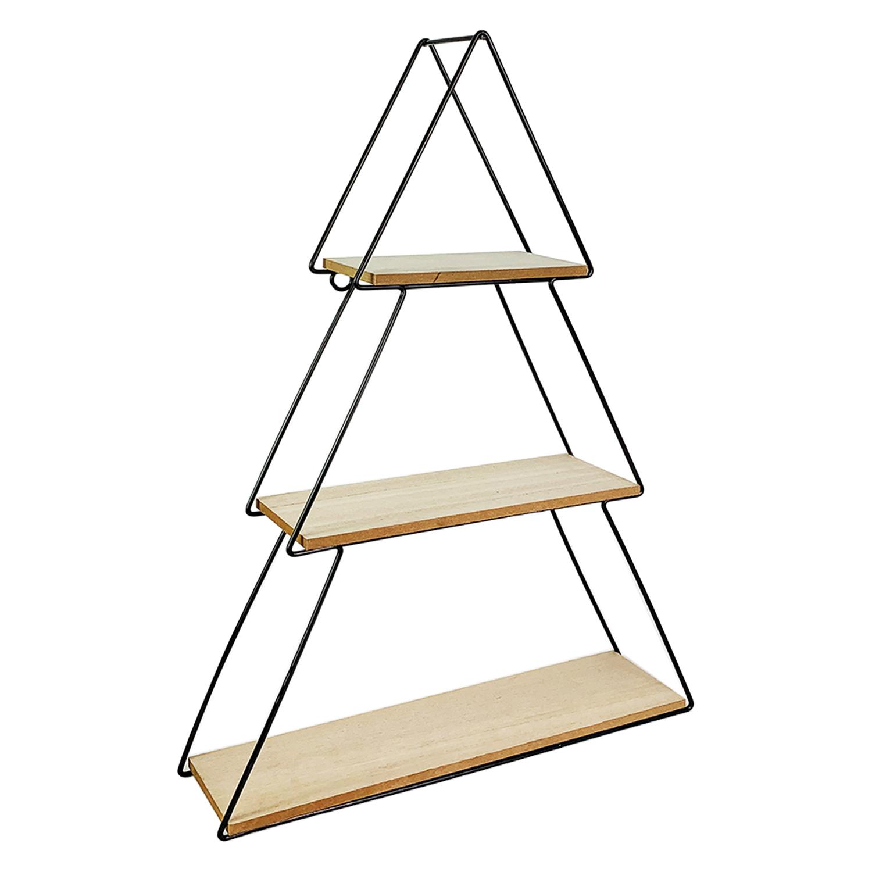Wandregal Hangeregal 3 Etagen Metall Holz Schwarz B30xt7xh44cm