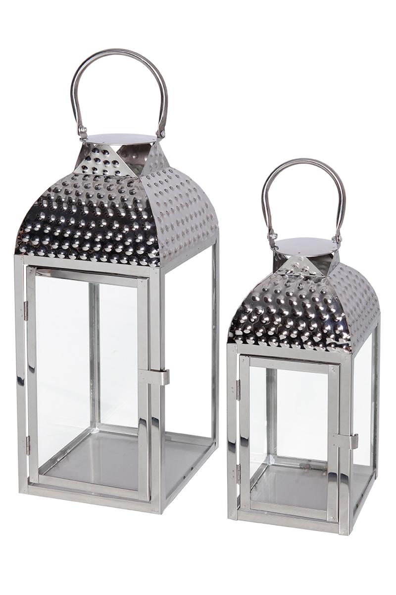 Schönes 2-tlg Luxus Gartenlaternen Set Windlicht Edelstahl Silber H35cm H46cm
