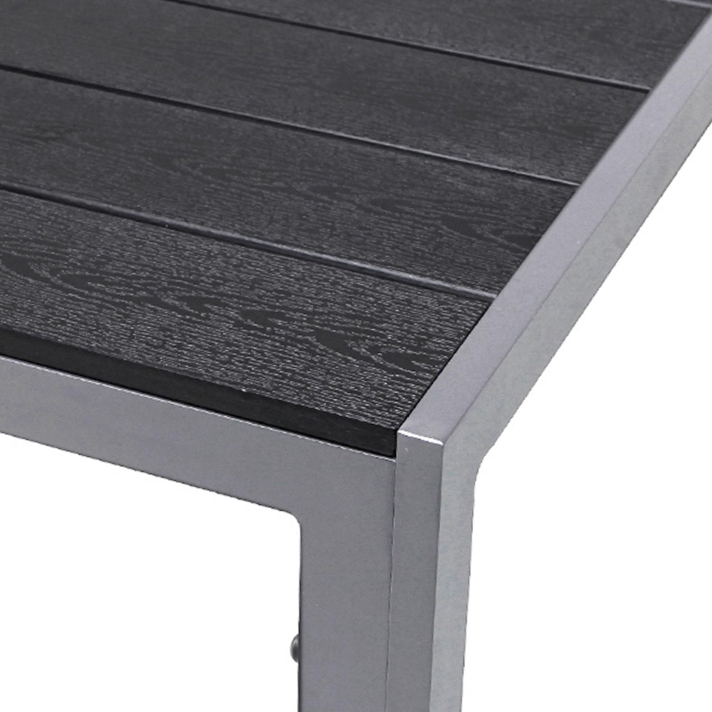 Details zu XL Aluminium Gartentisch SilberSchwarz Polywood Gartenmöbel Esstisch 180x90x74