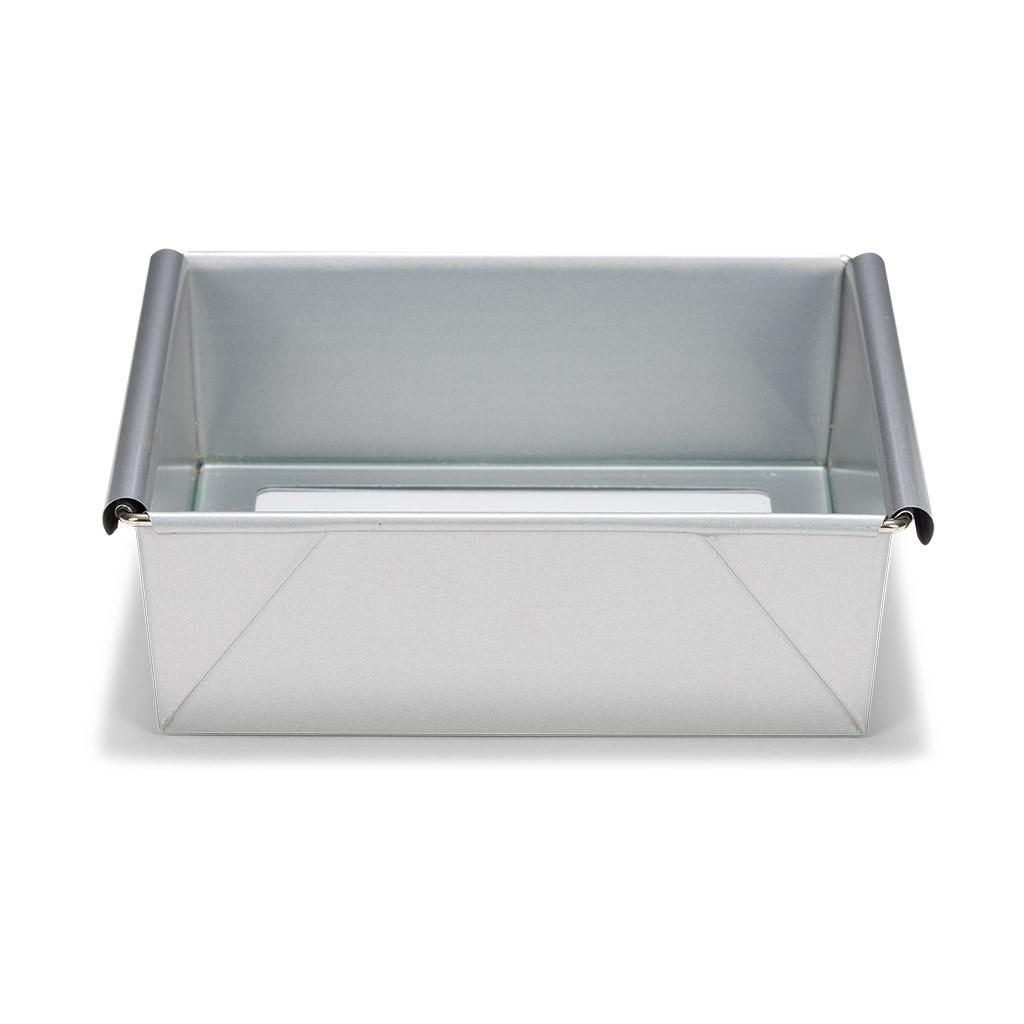 Patisse Silver Top Quadrat - Viereckig - eckig - Backform - Kuchenform mit losem Glasboden und antihaft aus Stahl 21x21cm