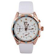 Marea B35258/3 Multifunktions Damen Armbanduhr Trendy mit Lederuhrband Roségold/Weiß