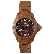 Marea B35295/6 Woodlook L Unisex Armbanduhr in Holz Optik mit dunkelbraunen Kunststoff Uhrband
