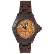Marea B35295/8 Woodlook L Unisex Armbanduhr in Holz Optik mit dunkelbraunen Kunststoff Uhrband