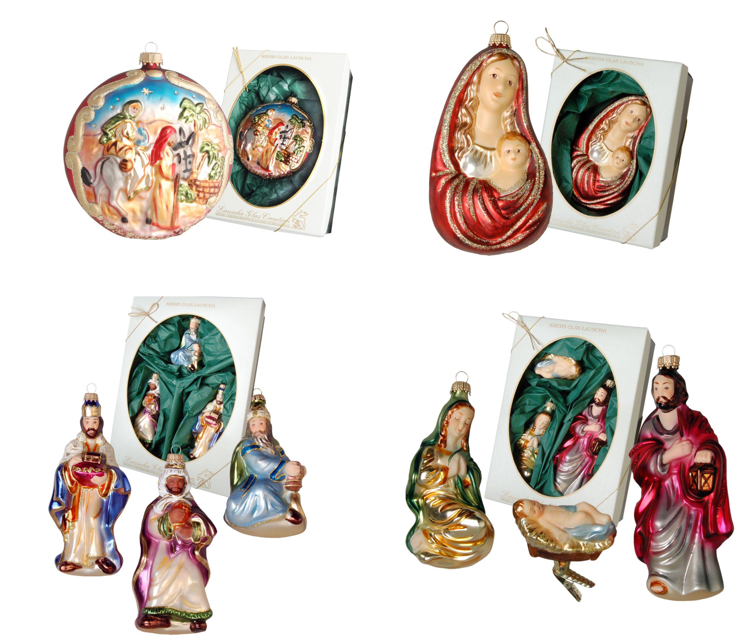Krebs Glas Lauscha - Baumschmuck Weihnachtsgeschichte - Christkind Maria Joseph