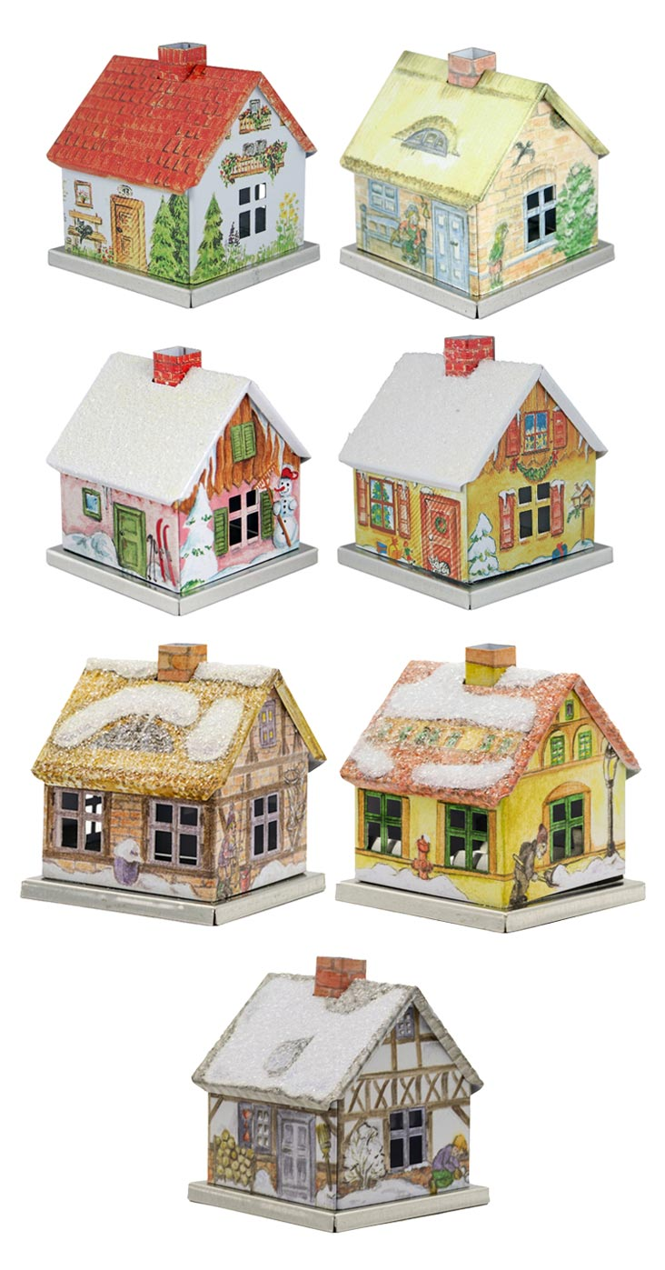 KNOX - Räucherhaus aus Metall - verschiedene Motive der Jahreszeiten