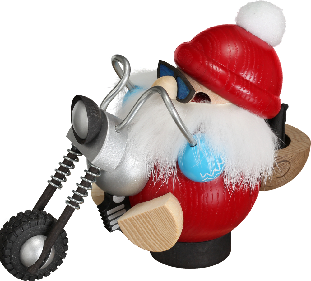 Seiffener Volkskunst Räucherfigur Biker-Nikolaus - Räuchergefäß Made in Germany