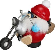 Seiffener Volkskunst Räucherfigur Biker-Nikolaus - Räuchergefäß Made in Germany 001