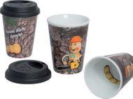 """Kuhnert Holzwurm - Coffee-2-go Becher - Kaffee-to-Go-Becher - Kaffeebecher, Trinkbecher - mit Deckel - Aufdruck """"Beiss dich durch"""""""