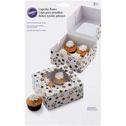Wilton Schwarze und Goldene Sterne Cupcake-Box zum Aufbewahren Ihrer leckeren Cupcakes in einer stilvollen Box, 3 Stück