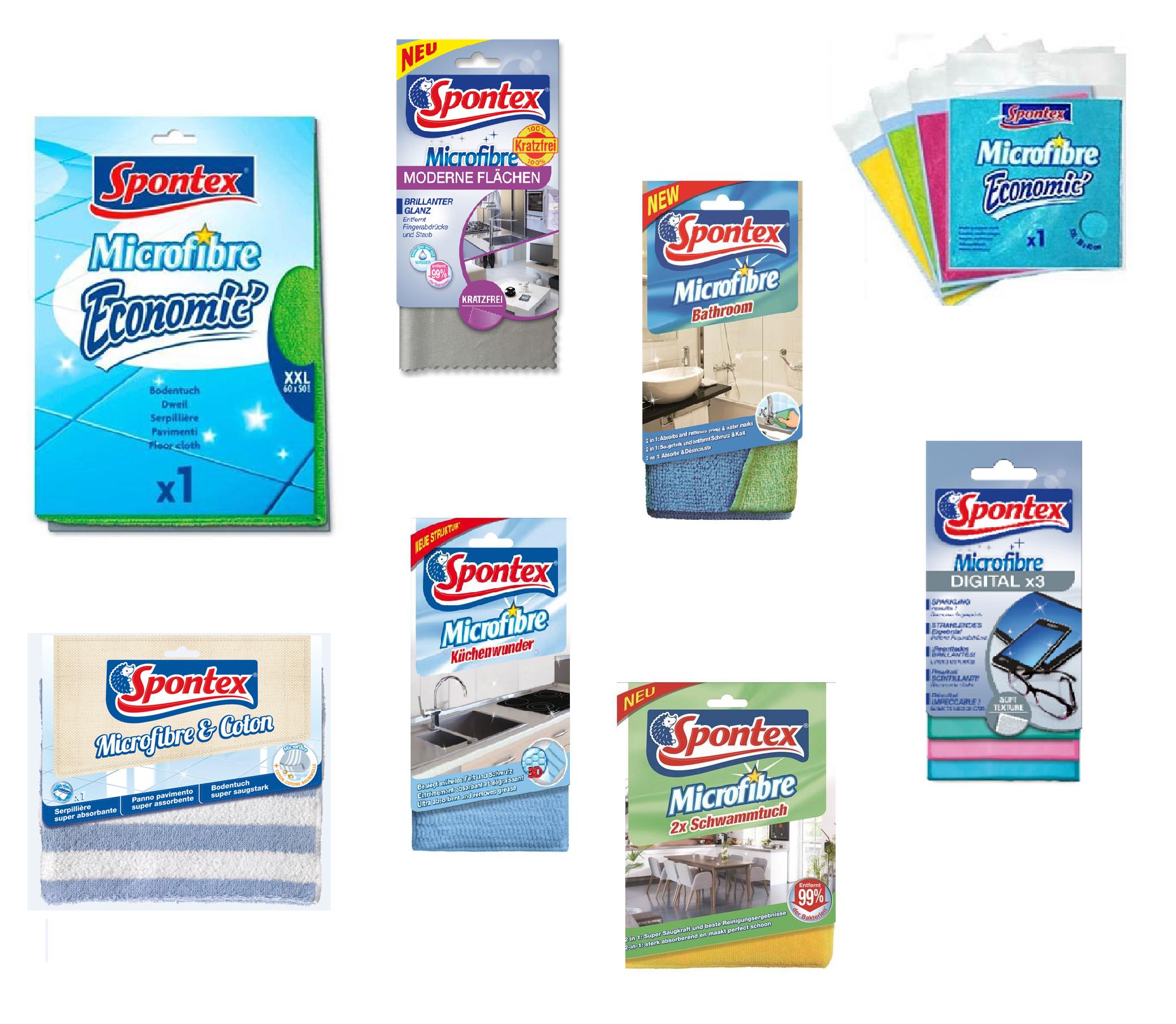 Spontex Microfibre Mikrofaser Reinigungstücher - Pflegetücher für Küche Bad und Elektronik