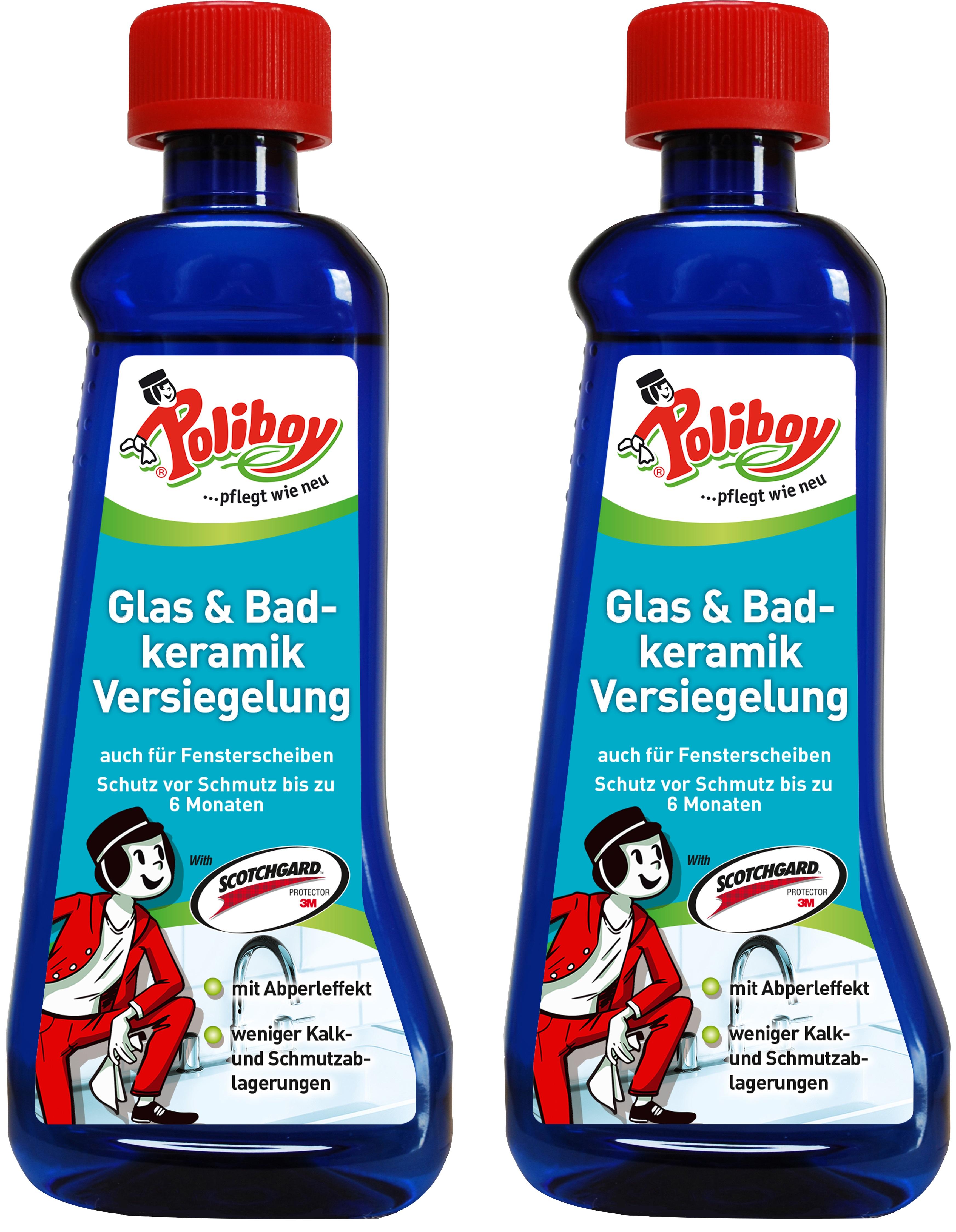 Poliboy Glas - und Badkeramik Versiegelung 2x200 ml - Kein Halt für Schmutz - Oberflächen imprägnieren