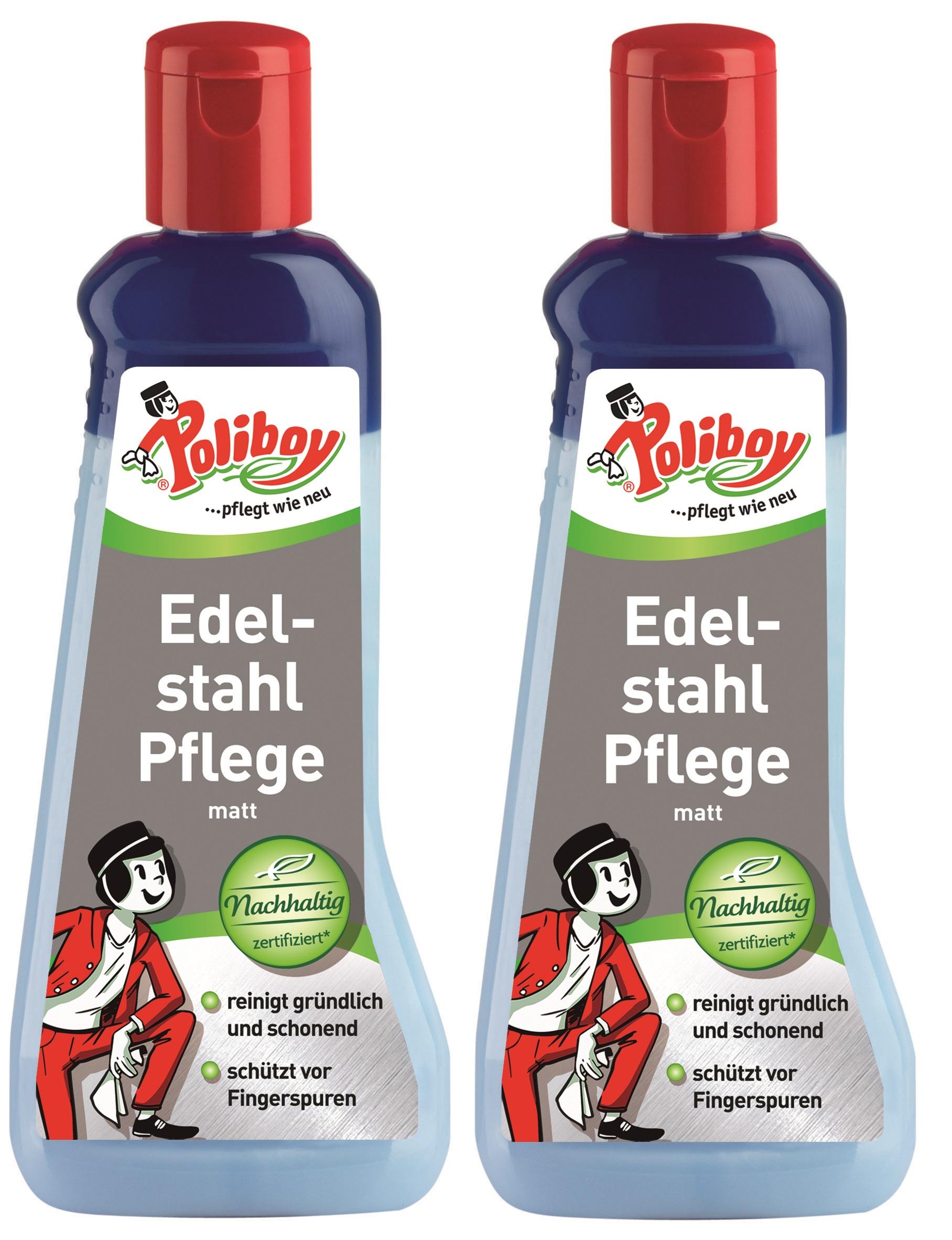 Poliboy - Edelstahl Pflege, matt 2x200 ml - für Aluminium oder Edelstahl
