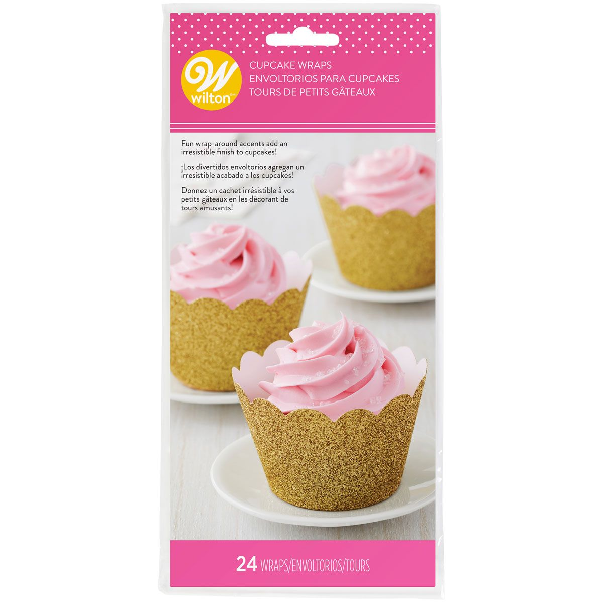 Wilton Cupcake Wrappers glitzernd gold - Deko Muffinförmchen Kuchen, 24 Stück