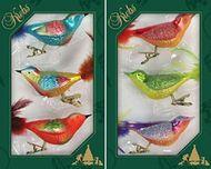 Krebs Glas Lauscha Fantasie-Vögel bunt auf Clip - Christbaumschmuck Glasschmuck